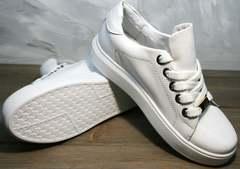 Белые кеды из натуральной кожи женские Molly shoes 557 Whate