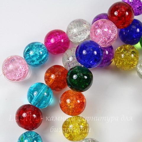"""Бусина стеклянная """"Крэкл"""", шарик, цвет - микс, 10 мм, нить"""