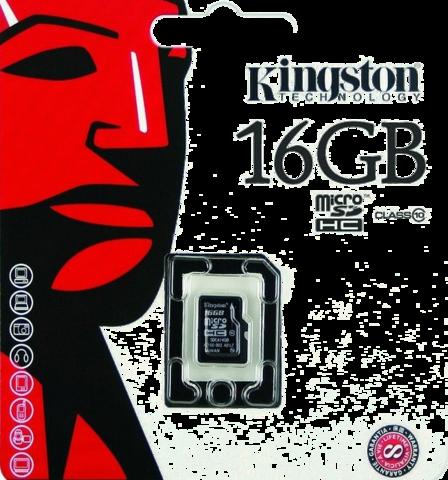 Карта памяти Kingston MicroSD (Class 10) 16gb + адаптер