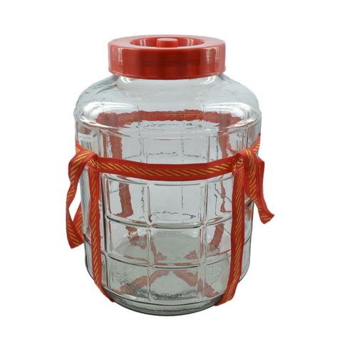 Банка стеклянная 18 литров, с гидрозатвором, крышкой и оплеткой