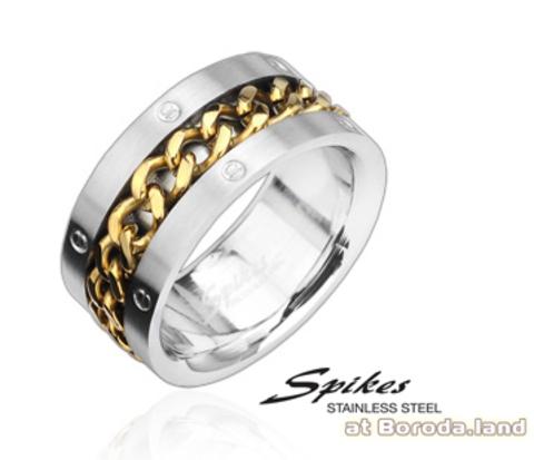 Стальное мужское кольцо «Spikes» с цепью золотого цвета