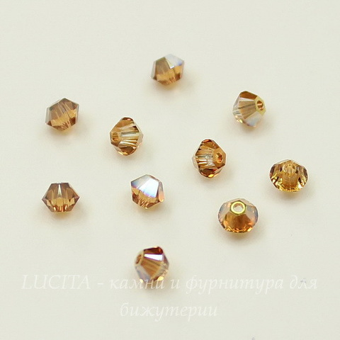 5328 Бусина - биконус Сваровски Crystal Metallic Sunshine 3 мм, 10 штук