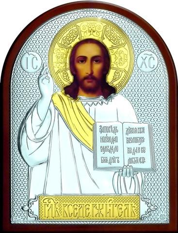 Серебряная с золочением икона Иисуса Христа Спасителя 25х19см