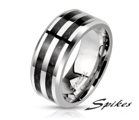 Мужское кольцо со вставками из карбона («Spikes»)