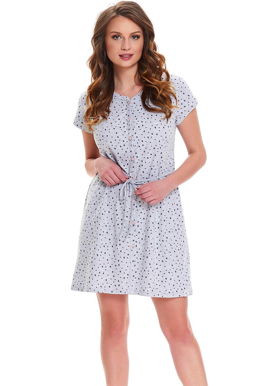 Женская сорочка серого цвета на поговицах (Ночные сорочки)