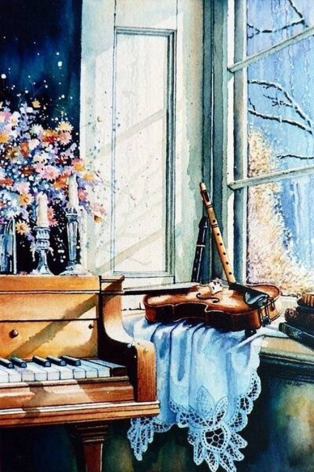 Картина раскраска по номерам 50x65 Музыкальные инструменты ...