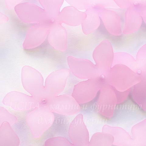 Бусина акриловая Цветочек сиреневый 27х7 мм