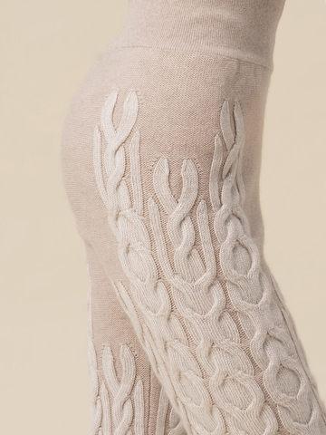 Женские брюки бежевого цвета из 100% кашемира - фото 3