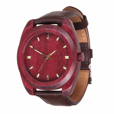 Часы из дерева AA Wooden Watches Классик Амарант