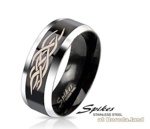 Черное мужское кольцо «Spikes» из стали с узором