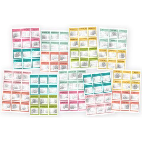 Стикеры с календарем для ежедневников Planner Essentials Mini Stickers Monthly (с июля 2017 по декабрь 2018) -108шт