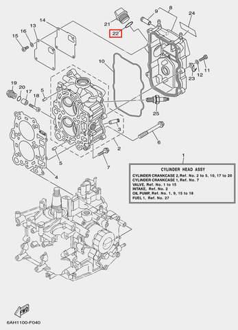 Кольцо масляной пробки для лодочного мотора F20 Sea-PRO (4-22)