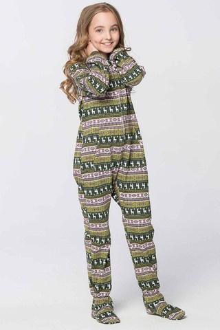 """Детская пижама-комбинезон """"Олени на зеленом фоне"""""""