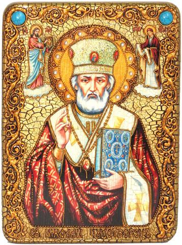 Инкрустированная икона Святитель Николай, архиепископ Мир Ликийский (Мирликийский) 29x21см на натуральном дереве в подарочной коробке