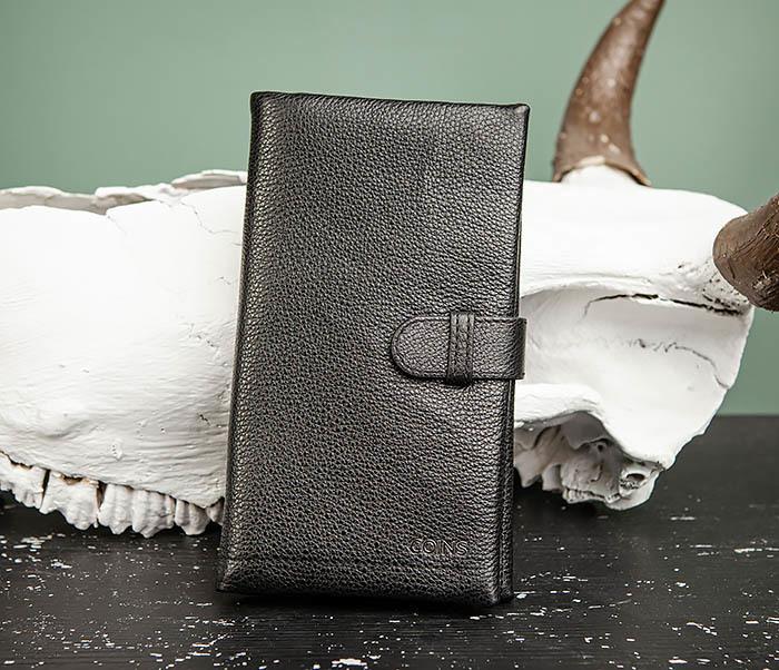 WL326-1 Мужской кожаный купюрник черного цвета, «Hanz» фото 02