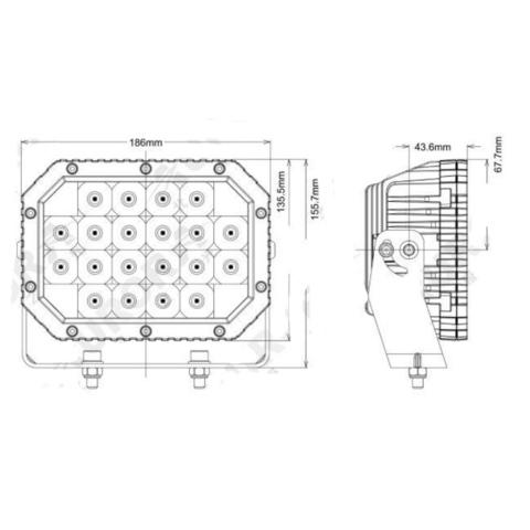 Светодиодная фара  6 комбинированного  света Аврора  ALO-L-6-P7E7K ALO-L-6-P7E7K  фото-3