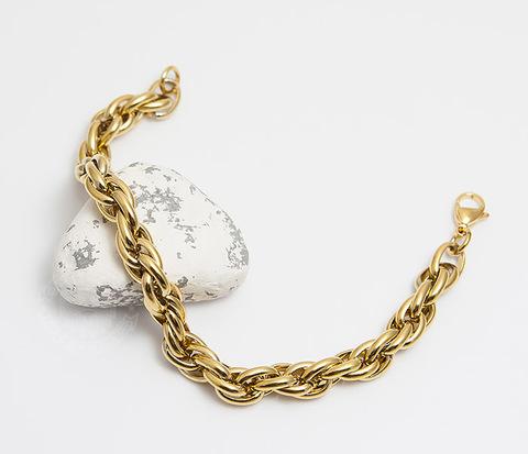 Мужской браслет золотистого цвета из ювелирной стали (20 см)