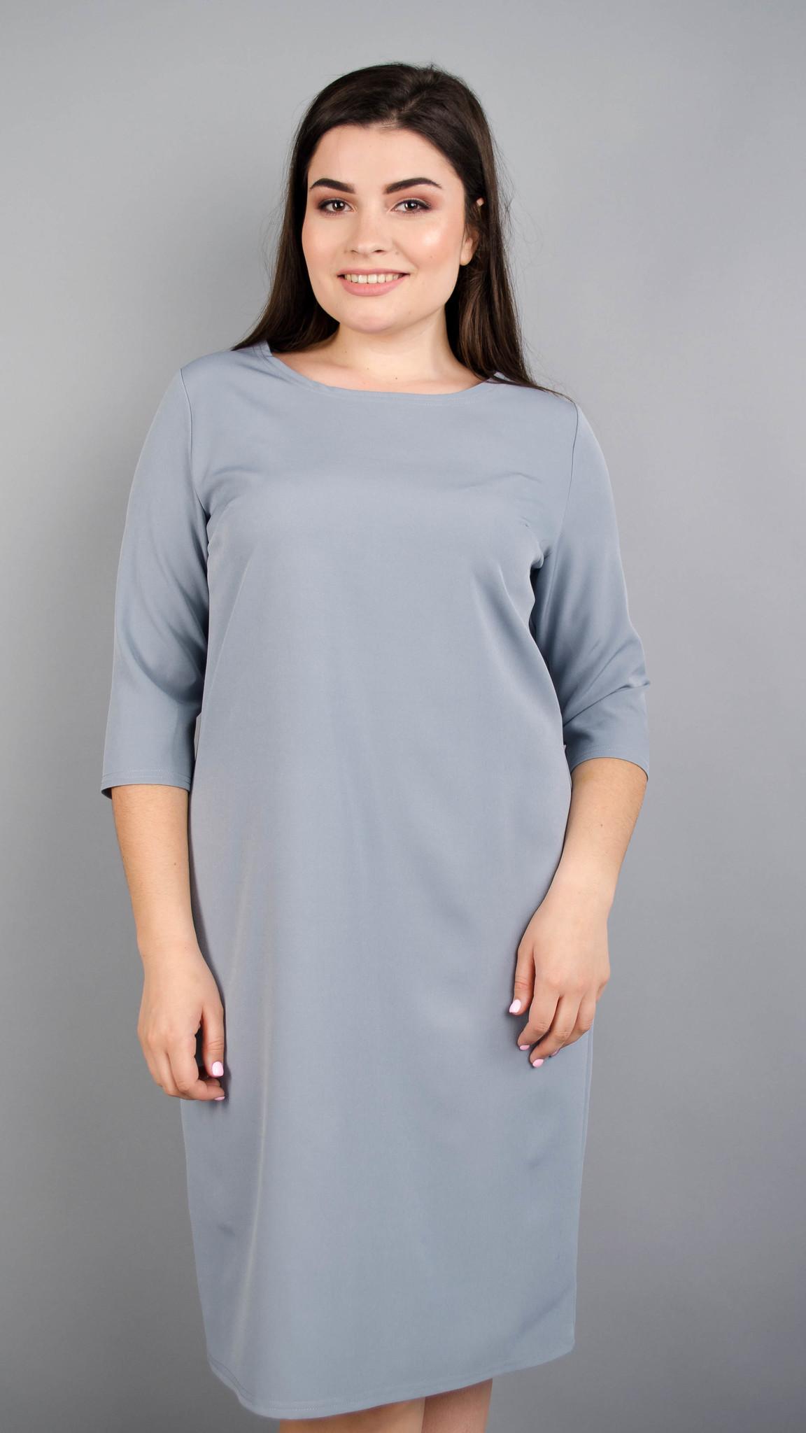 Аріна креп. Універсальна сукня великих розмірів. Сірий.