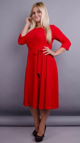 Кора. Элегантное платье плюс сайз. Красный.