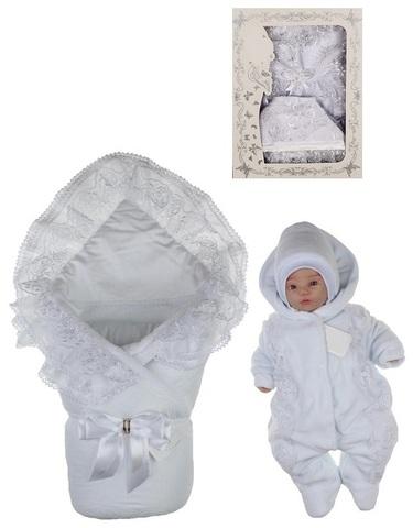 Зимний комплект на выписку из роддома Beautiful Lux белый