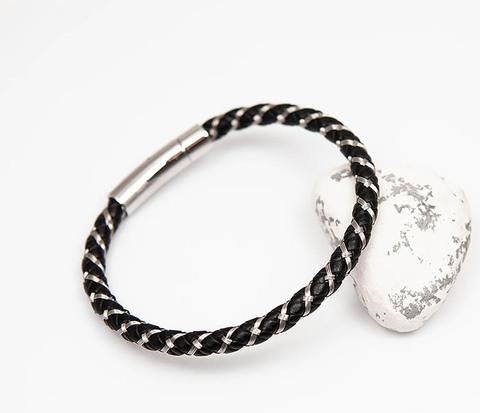 Мужской браслет из кожаного шнура и стальной проволоки (21 см)