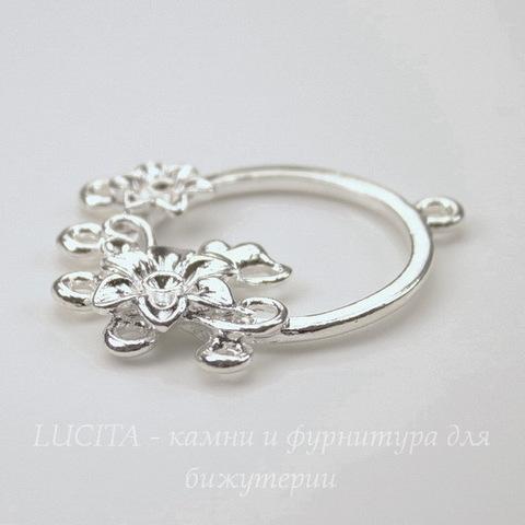 """Коннектор """"Цветочки"""" (1-5) 34х29 мм (цвет - серебро)"""