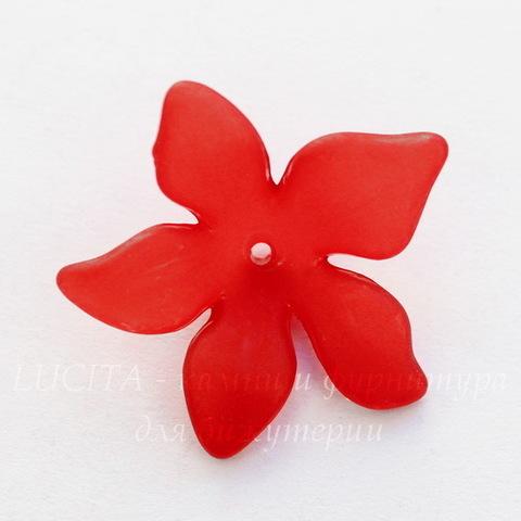 Бусина акриловая Цветочек красный 27х7 мм