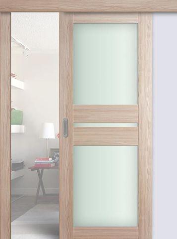 > Экошпон раздвижная Profil Doors №70X-Модерн, стекло матовое, цвет капучино мелинга, остекленная