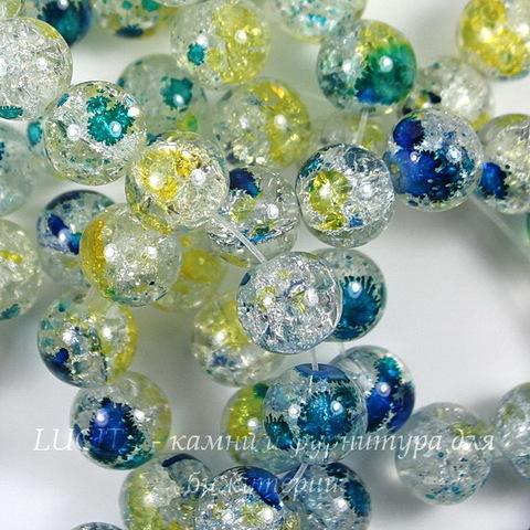 """Бусина стеклянная """"Крэкл"""", шарик, цвет - синий с желтым, 10 мм, нить"""