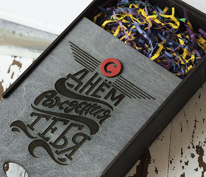 BOX229-1 Большая мужская коробка из дерева для подарков (18*26*7,5 см) фото 08