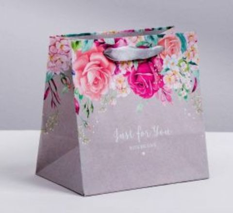 Подарочный пакет (цветы, серый)