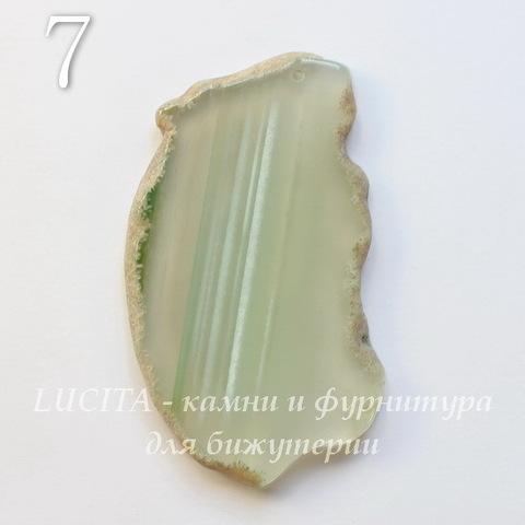 Подвеска Срез Агата (тониров), цвет - прозрачный зеленый, 40-91 мм