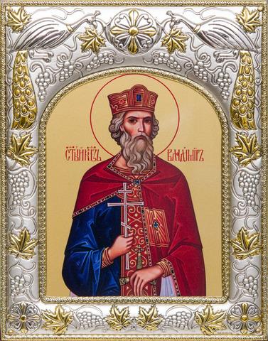 Серебряная икона Владимир  18x14см