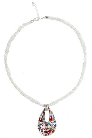 Кулон Арлекино серебристый из муранского стекла на бисере в 6 нитей
