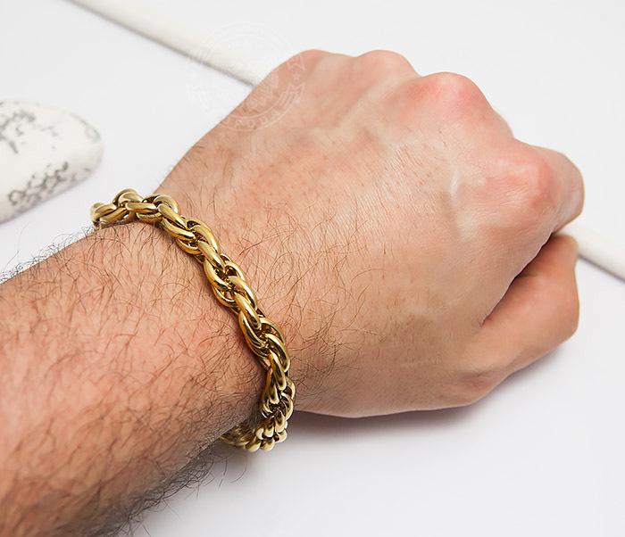 BM431-2 Мужской браслет золотистого цвета из ювелирной стали (23 см) фото 06