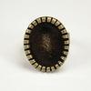 Основа для кольца с сеттингом с круглым краем для кабошона 18х13 мм (цвет - античная бронза)