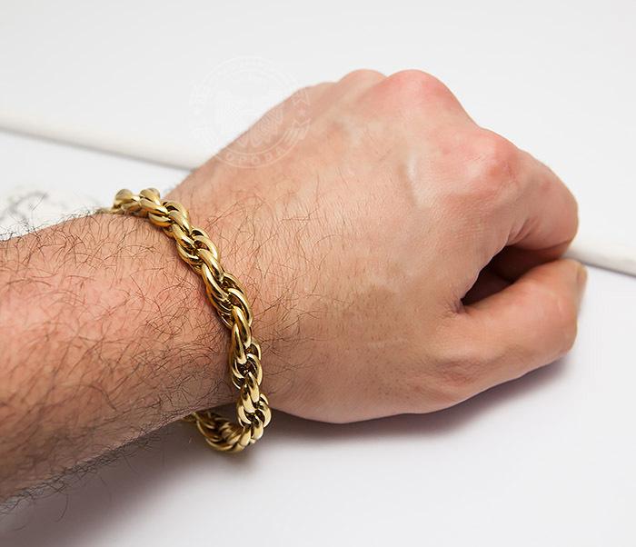 BM431-2 Мужской браслет золотистого цвета из ювелирной стали (23 см) фото 07