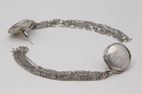Серьги из серебра с барочным жемчугом SAM-003