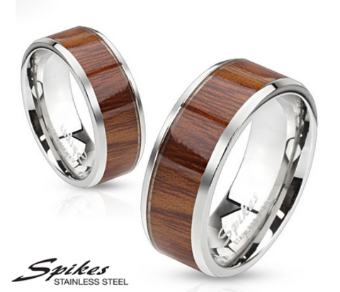 Мужское кольцо «Spikes» из ювелирной стали с деревянной вставкой