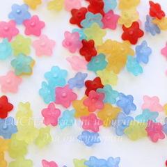 Бусина акриловая Цветочек маленький Микс 10х4 мм, примерно 100 штук