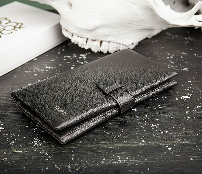 WL326-1 Мужской кожаный купюрник черного цвета, «Hanz» фото 03