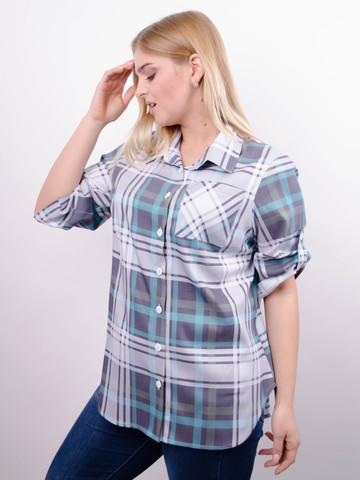 Делюкс. Стильная женская рубашка плюс сайз. Клетка бирюза.