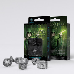 Elvish Translucent & black Dice Set (7)