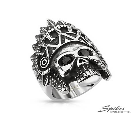 Мужской массивный перстень с черепом  из ювелирной стали, «Spikes»