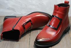 Осенние женские ботинки без каблука Evromoda 1481547 S.A.-Red