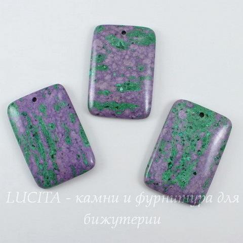 Подвеска прямоугольная Цоизит (искусств), цвет - фиолетовый с зеленым, 47х32 мм