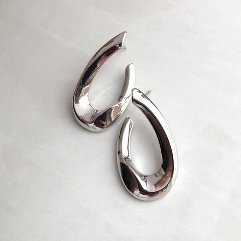 Серьги в виде Подковы, серебряный цвет
