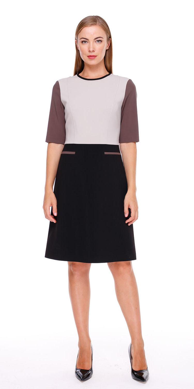 Платье З157-579 - Платье футляр на подкладке из комбинированных по цвету тканей. Отрезное по линии талии с расклешенной юбкой. Изготовлено из качественной, костюмной поливискозы, которая прекрасно держит форму скрывая возможные недостатки фигуры. Идеальный вариант для офиса.