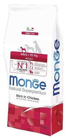 Корм для собак Monge Dog Mini Adult – Курица с рисом. Для взрослых собак мелких пород 15 кг