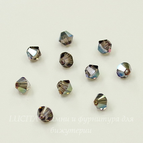 5328 Бусина - биконус Сваровски Crystal Iridescent Green 4 мм, 10 штук